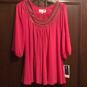 Liz Lange embellished tunic smock top,bright pink
